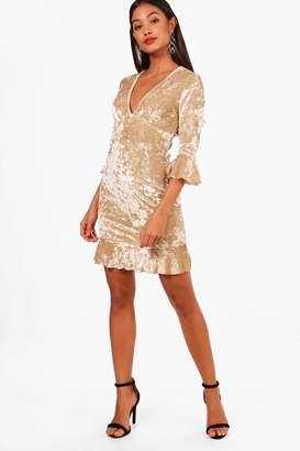 boohoo Velvet Frill Detail Tea Dress