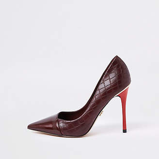 River Island Dark red croc print wrap around pumps