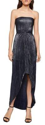 BCBGeneration Metallic Asymmetrical Strapless Sheath Dress