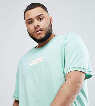 Puma Organic Cotton T-Shirt With Box Logo In Blue Exclusive To Asos