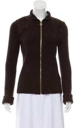 Gucci Suede-Accented Rib Knit Jacket