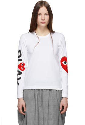 Comme des Garcons White and Red Logo Single Heart Long Sleeve T-Shirt