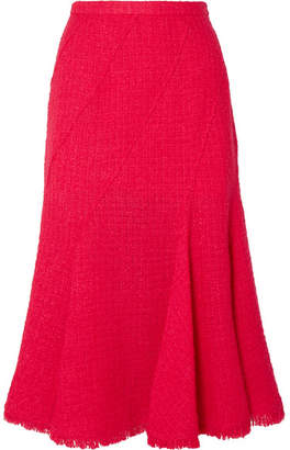 Oscar de la Renta Frayed Wool-blend Tweed Midi Skirt - Bright pink