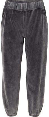 Alexander Wang Cotton-blend Velour Track Pants - Dark gray