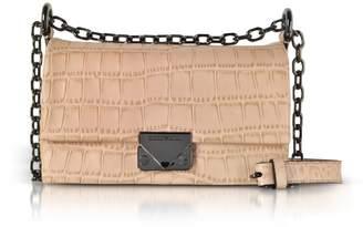 Emporio Armani Croco-Embossed Leather Small Shoulder Bag