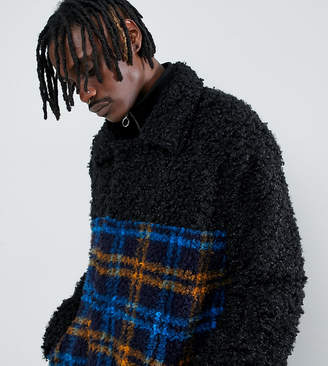 The New County coat in teddy faur fur and check