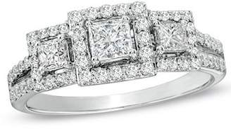 JeenJewels 0.92 Carat Halo Discount Diamond Engagement Ring with Princess cut Diamond on 14K White gold
