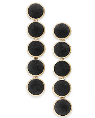INC International Concepts I.n.c. Gold-Tone Fabric Button Drop Earrings