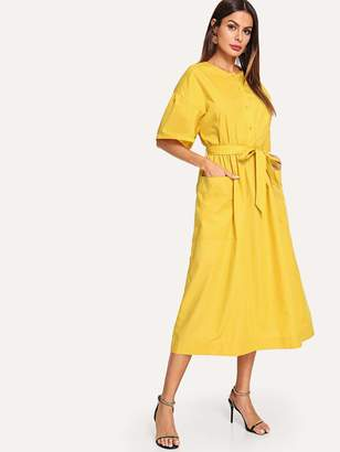 Shein Button Front Pocket Patch Self Belted Dress