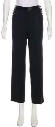 Dolce & Gabbana Leather-Accented Straight-Leg Pants