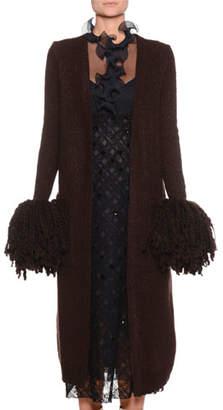 Bottega Veneta Open-Front Wool-Blend Knit Cardigan w/ Pompom Cuffs
