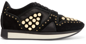 Burberry - Satin-trimmed Studded Suede Sneakers - Black $750 thestylecure.com