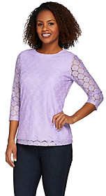 Denim & Co. 3/4 Sleeve All Over Lace Top