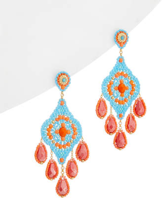 Miguel Ases 18K Plated Quartz & Crystal Drop Earrings