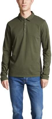Vince Garment Dyed Long Sleeve Polo Shirt