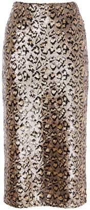 Karen Millen Sequin Leopard Midi Skirt