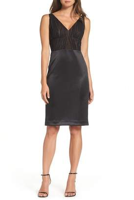 Vera Wang V-Neck Ruched Sheath Dress