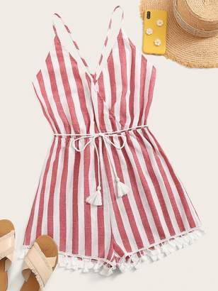 Shein Crisscross Backless Tassel Hem Striped Romper With Belt