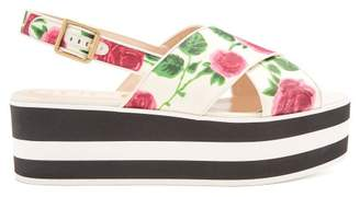 Gucci Peggy Floral Print Flatform Slides - Womens - White Multi