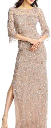 Aidan Mattox 3/4 Sleeve Gown