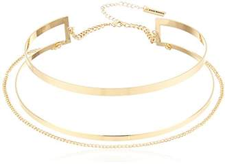 Steve Madden Cut Out Collar with Chain Choker Necklace