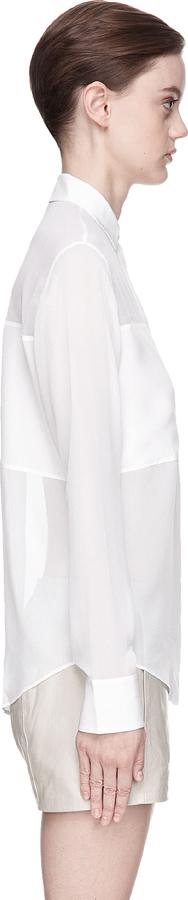 Alexander Wang White crepe de chine and Silk Chiffon blouse