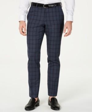 HUGO BOSS Men's Slim-Fit Blue Glen Plaid Suit Pants