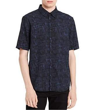 Calvin Klein Jeans Men's Short Sleeve Cross Hatch Camo Print Button Down Shirt