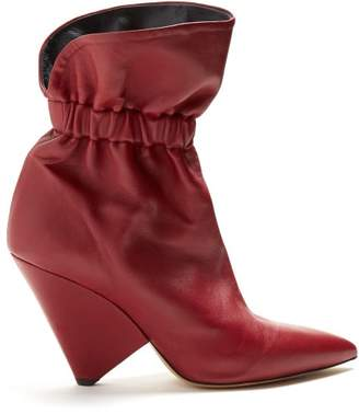 Isabel Marant Lileas Leather Ankle Boots - Womens - Burgundy
