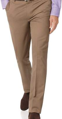 Charles Tyrwhitt Tan extra slim fit flat front non-iron chinos