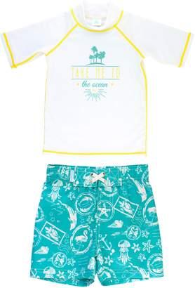 RuggedButts Take Me to the Ocean Rashguard & Board Shorts Set