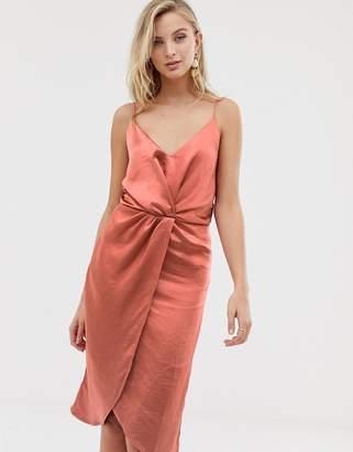 Vila wrap front cami midi dress