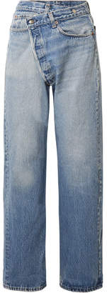 R 13 Crossover Asymmetric High-rise Straight-leg Jeans - Mid denim