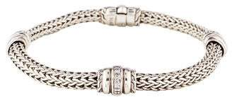 John Hardy Diamond Bedeg Barrel Station Bracelet