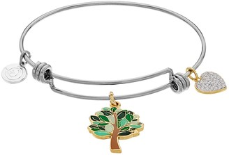 Love This Life love this life Family Tree and Heart Charm Bangle Bracelet
