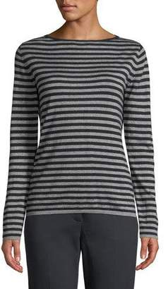 Max Mara Nardo Crewneck Striped Silk-Cashmere Sweater