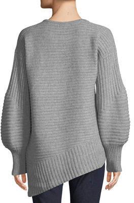 Neiman Marcus Cashmere Balloon-Sleeve Ribbed Sweatshirt