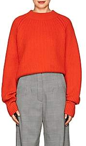 Proenza Schouler Women's Side-Slit Wool-Blend Crop Sweater - Red