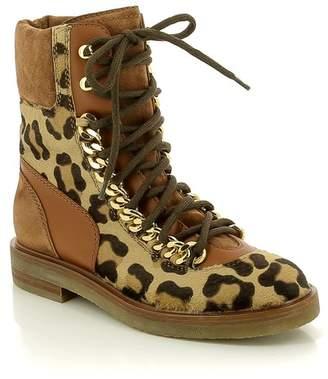 Casadei Leopard Patterned Combat Boot