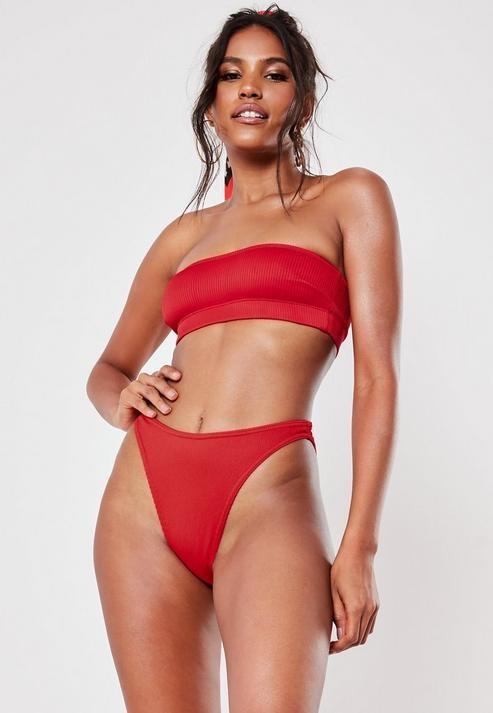 red rib bandeau bikini top, Red