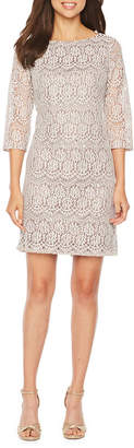 Jessica Howard 3/4 Sleeve Lace Shift Dress