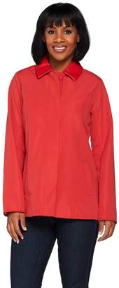 Dennis Basso Water Resistant Jacket with Faux Leather Collar