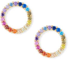 Tai Rainbow Pavé Circle Stud Earrings