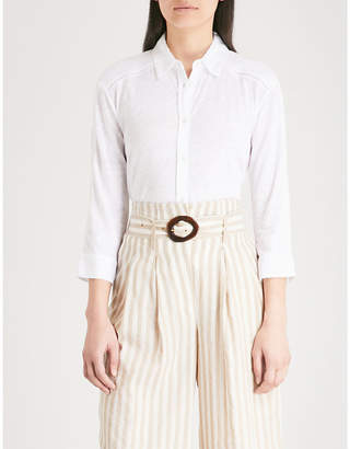 The White Company Embroidered-trim linen shirt