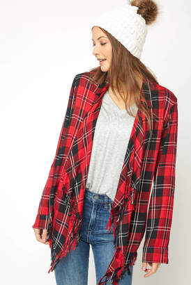 Willow & Clay Fringe Plaid Drape Jacket