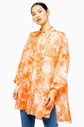 Topshop Womens **Silk Tie Dye Shirt By Boutique - Orange