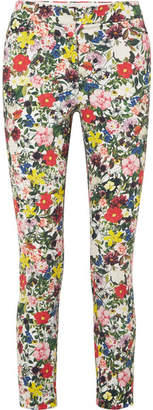 Erdem Sidney Floral-print Stretch-cotton Slim-leg Pants - Yellow