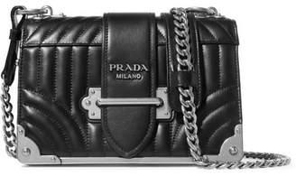 Prada Cahier Quilted Leather Shoulder Bag - Black
