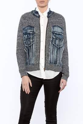 Voice Of California Jean Sweater Zip Jacket