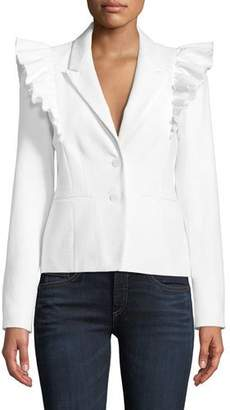 Rebecca Taylor Slub Suiting Ruffle-Shoulder Jacket
